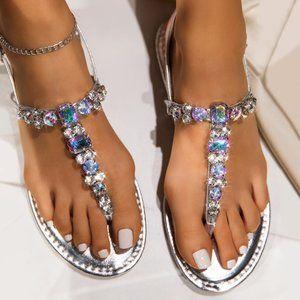 NEW Bling Jewel Rhinestone T-Strap Sandal Open Toe